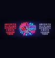punk party neon sign rock music logo vector image