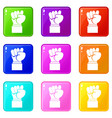 raised up clenched male fist icons 9 set vector image vector image