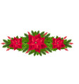 red poinsettia isolated garland with fir tree vector image