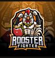 rooster fighter esport mascot logo design vector image vector image