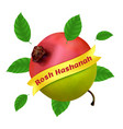rosh hashanah - new year in hebrew with apple vector image