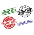 scratched textured migrant area seal stamps vector image vector image
