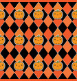 seamless halloween pattern with pumpkins on argyle vector image