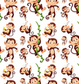 Seamless monkey in different actions vector image vector image