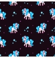 Seamless pattern with cute white cartoon horse vector image vector image
