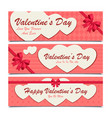 set of three banners with white hearts for vector image vector image