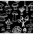 set white silhouettes cute cartoon mushrooms on vector image vector image