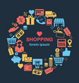 shopping line icons banner vector image
