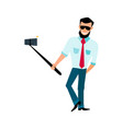 smiling male with a beard hipster take photos vector image vector image