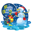 Snowman and rooster vector image vector image