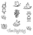 Thanksgiving in dooodle food party vector image vector image