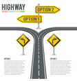 timeline road infographics with signposts vector image