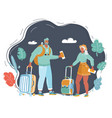 traveling couple young people vector image vector image