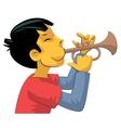 Trumpet player teenage boy vector image vector image