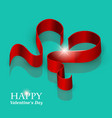 valentines day ribbon heart vector image vector image
