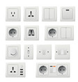 wall light switch plug and cable inlet diversity vector image