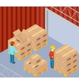 Warehouse with cardboard boxes on pallets vector image vector image