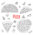 whole and slices pizza set hand drawn vector image vector image