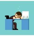 Businessman sleeping on his office desk top vector image