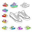 colored sneakers sketch vector image