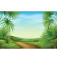 a beautiful landscape with palm plants