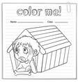 A worksheet showing a young boy vector image vector image