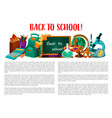 back to school poster for education design vector image vector image