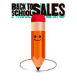 back to school sales poster pencil character vector image