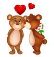 Bear couple cartoon kissing vector image vector image