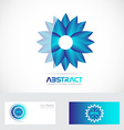 Blue flower logo 3d vector image vector image