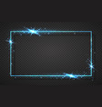 blue shiny glitter glowing vintage frame vector image