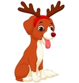 Cartoon Dog in reindeer costume vector image
