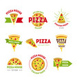 cartoon pizzeria signs color set vector image