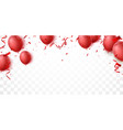 celebration banner with red balloon and confetti vector image vector image