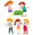 Children having cold and fever vector image vector image