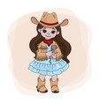 cowgirl singer western music festival illus vector image vector image