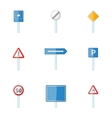 Different traffic signs icons set cartoon style vector image