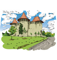 Digital painted Soroca Castle vector image vector image
