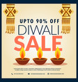 diwali sale discount banner with three diya and vector image vector image