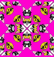 dog in pixel sunglasses seamless pattern on pink vector image vector image