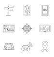 GPS map icons set outline style vector image