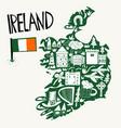 hand drawn stylized map ireland travel vector image