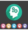 Head think idea gear icon flat web sign symbol vector image vector image