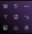 hobby icons line style set with basketball math vector image
