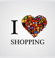 i love shopping font type with heart sign vector image vector image