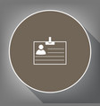 id card sign white icon on brown circle vector image vector image