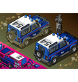 Isometric Police Off Road Vehicle in Rear View vector image vector image