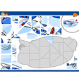 jigsaw puzzle with plane vector image vector image