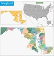 Maryland map vector image vector image