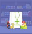 Modern interior pharmacy and drugstore vector image vector image